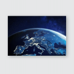 Europe Space Night City Lights Showing Poster, Pillow Case, Tumbler, Sticker, Ornament