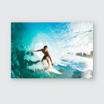Surfer On Blue Ocean Wave Tube Poster, Pillow Case, Tumbler, Sticker, Ornament