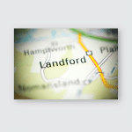 Landford United Kingdom On Geography Map Poster, Pillow Case, Tumbler, Sticker, Ornament