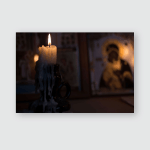 Burning Candle Against Background Orthodox Icons Poster, Pillow Case, Tumbler, Sticker, Ornament