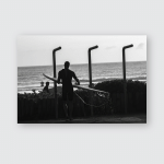 Surfer Showers Silhouetted Surfboard Black White Poster, Pillow Case, Tumbler, Sticker, Ornament