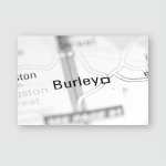 Burley United Kingdom On Geography Map Poster, Pillow Case, Tumbler, Sticker, Ornament