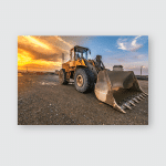 Excavator End Working Day Construction Site Poster, Pillow Case, Tumbler, Sticker, Ornament