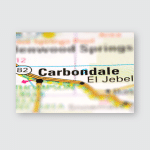 Carbondale On Usa Road Map Close Poster, Pillow Case, Tumbler, Sticker, Ornament