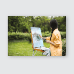 Female Artist Her Spacious White Studio Poster, Pillow Case, Tumbler, Sticker, Ornament