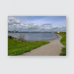 Cardiff Bay View Barage On Bright Poster, Pillow Case, Tumbler, Sticker, Ornament