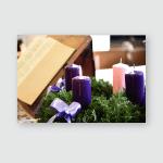 Advent Candles Church Poster, Pillow Case, Tumbler, Sticker, Ornament