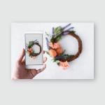 Female Hand Phone Photographs Easter Wreath Poster, Pillow Case, Tumbler, Sticker, Ornament