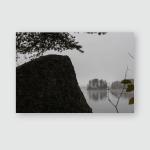 Late Fall Lake Dark Cold Foggy Poster, Pillow Case, Tumbler, Sticker, Ornament