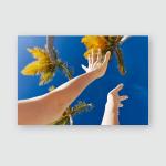 Female Hands Palm Trees Blue Sky Poster, Pillow Case, Tumbler, Sticker, Ornament