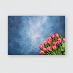 Pink Tulips Bouquet On Blue Watercolor Poster, Pillow Case, Tumbler, Sticker, Ornament