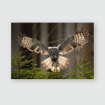 Action Scene Forest Owl Flying Great Poster, Pillow Case, Tumbler, Sticker, Ornament