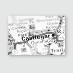 Castlegar Canada On Map Poster, Pillow Case, Tumbler, Sticker, Ornament