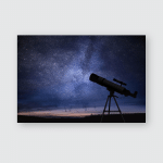 Silhouette Telescope Starry Night Sky Background Poster, Pillow Case, Tumbler, Sticker, Ornament