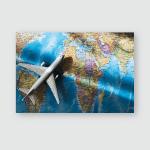 White Toy Plane On World Map Poster, Pillow Case, Tumbler, Sticker, Ornament