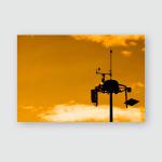 Silhouette Weather Measurement Unit Blue Sky Poster, Pillow Case, Tumbler, Sticker, Ornament