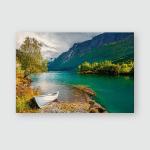 Impressive Summer View Lovatnet Lake Municipality Poster, Pillow Case, Tumbler, Sticker, Ornament