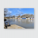 Boats Rowing Clubs On Thames Oxfordshire Poster, Pillow Case, Tumbler, Sticker, Ornament