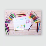 Drawing Made By Child Using Colored Poster, Pillow Case, Tumbler, Sticker, Ornament