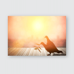 Silhouettes Flying Dove Red Glowing Sunset Poster, Pillow Case, Tumbler, Sticker, Ornament