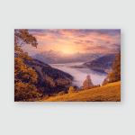 Incredible Nature Landscape Foggy Morning During Poster, Pillow Case, Tumbler, Sticker, Ornament