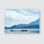 Boats Crossing Tranquil Lake Mountains Landscape Poster, Pillow Case, Tumbler, Sticker, Ornament