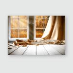 White Wooden Retro Window Autumn Forest Poster, Pillow Case, Tumbler, Sticker, Ornament