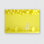 Outstanding White Chair Floating Yellow Balloons Poster, Pillow Case, Tumbler, Sticker, Ornament