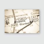 Owens Texas Usa On Map Poster, Pillow Case, Tumbler, Sticker, Ornament