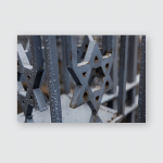 Sixpointed Star Fence Near Synagogue Poster, Pillow Case, Tumbler, Sticker, Ornament