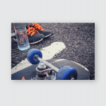 Skateboard Sneakers Water Drink Poster, Pillow Case, Tumbler, Sticker, Ornament