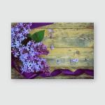 Bouquet Lilac Branches Purple Silk Ribbon Poster, Pillow Case, Tumbler, Sticker, Ornament