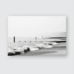 Bournemouth Beach Black White Landscape Poster, Pillow Case, Tumbler, Sticker, Ornament