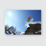 Skier Jumping Cliff High Mountains Poster, Pillow Case, Tumbler, Sticker, Ornament
