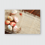 Painted Colored Easter Eggs On Canvas Poster, Pillow Case, Tumbler, Sticker, Ornament