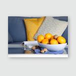 Bowl Fresh Tangerines On Table Living Poster, Pillow Case, Tumbler, Sticker, Ornament
