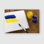 Painted Ukrainian Flag On Sketchbook Colorful Poster, Pillow Case, Tumbler, Sticker, Ornament
