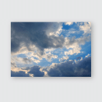 Sky Dramatic Blue White Clouds Poster, Pillow Case, Tumbler, Sticker, Ornament