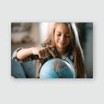 Boy Girl Classroom School Look Globe Poster, Pillow Case, Tumbler, Sticker, Ornament