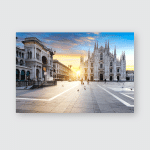 Duomo Sunrise Milan Europe Poster, Pillow Case, Tumbler, Sticker, Ornament