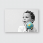 Boy Globe Looking On Grey Background Poster, Pillow Case, Tumbler, Sticker, Ornament