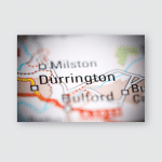Durrington United Kingdom On Geography Map Poster, Pillow Case, Tumbler, Sticker, Ornament