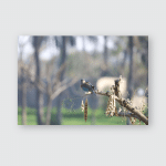 Branch Willow Spring On Brown Background Poster, Pillow Case, Tumbler, Sticker, Ornament