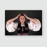 Slovak Folklore Slovakian Girl Studio Portrait Poster, Pillow Case, Tumbler, Sticker, Ornament