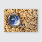 Earth Water Drop Reflection On Dry Poster, Pillow Case, Tumbler, Sticker, Ornament