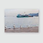 Small Fishing Boat Sea Area Gulf Poster, Pillow Case, Tumbler, Sticker, Ornament