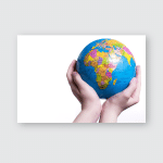 Small Globe Hands Girl On White Poster, Pillow Case, Tumbler, Sticker, Ornament