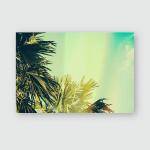 Palm Tree Under Blue Sky Vintage Poster, Pillow Case, Tumbler, Sticker, Ornament