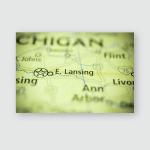 East Lansing Michigan Usa Poster, Pillow Case, Tumbler, Sticker, Ornament