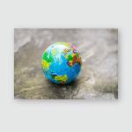 Small Globe On Cement Floor Poster, Pillow Case, Tumbler, Sticker, Ornament